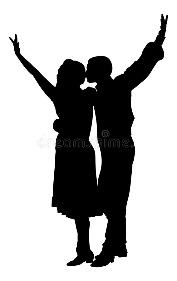 Couple in love. Closeness in public. Kiss the girl, kissing and tenderness. Couple in love dancing vector silhouette isolated on white background. Closeness in stock illustration