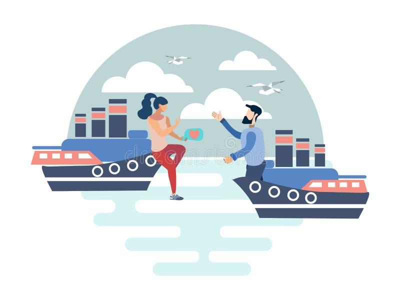 Couple in love on ships vector illustration stock illustration