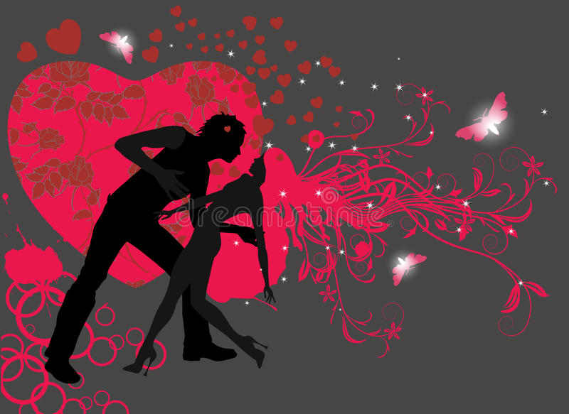 Couple in love dancing. Vector illustration in AI-EPS8 format royalty free illustration