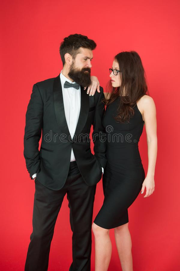 Couple in love on date. business meeting fashion. formal fashion look. Proposal or engagement party. Formal couple of royalty free stock photography