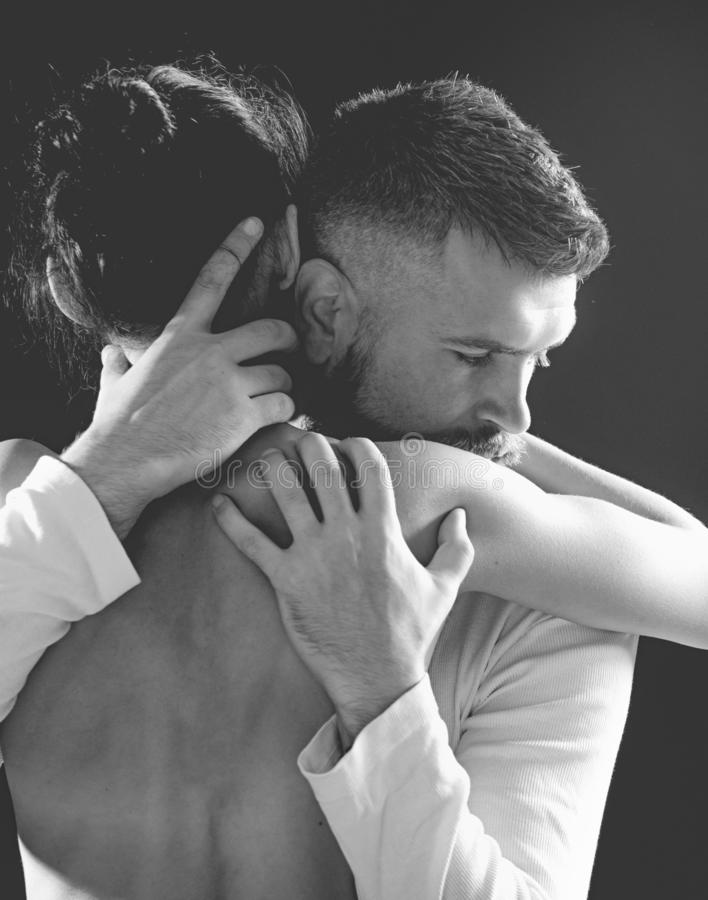 Couple In Love embrace. Romantic and love. Intimate relationship and sexual relations. Closeup embrace. Passion and. Sensual touch. Black and white photo royalty free stock images