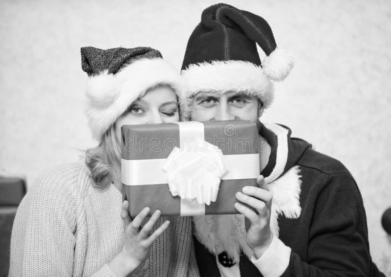 Couple in love enjoy christmas celebration. It is easy to spread happiness around. Happy family celebrate christmas stock photo