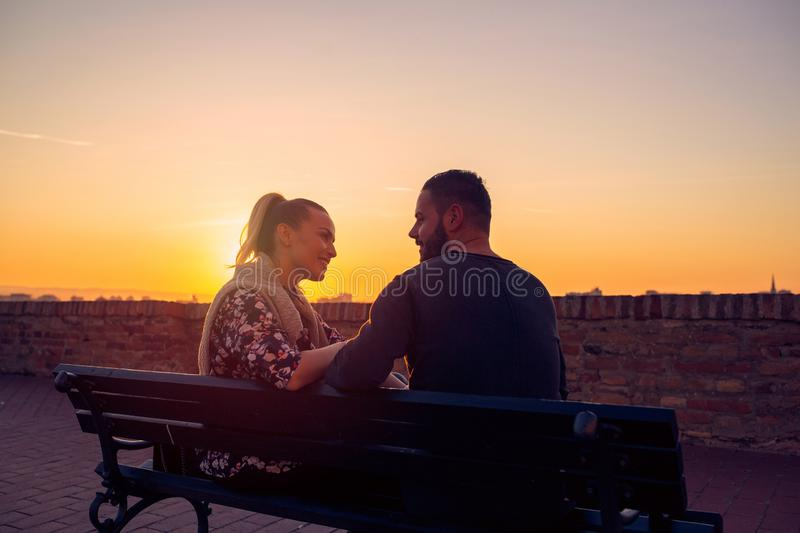 Couple in Love at evening enjoying time together royalty free stock photo