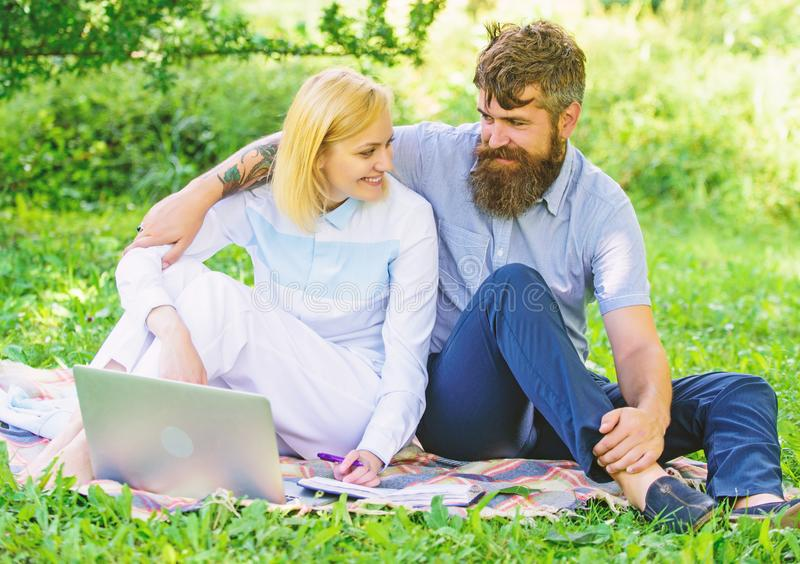 Couple in love or family work freelance. Modern online business. Freelance life benefit concept. How to balance. Freelance and family life. Couple youth spend royalty free stock photography
