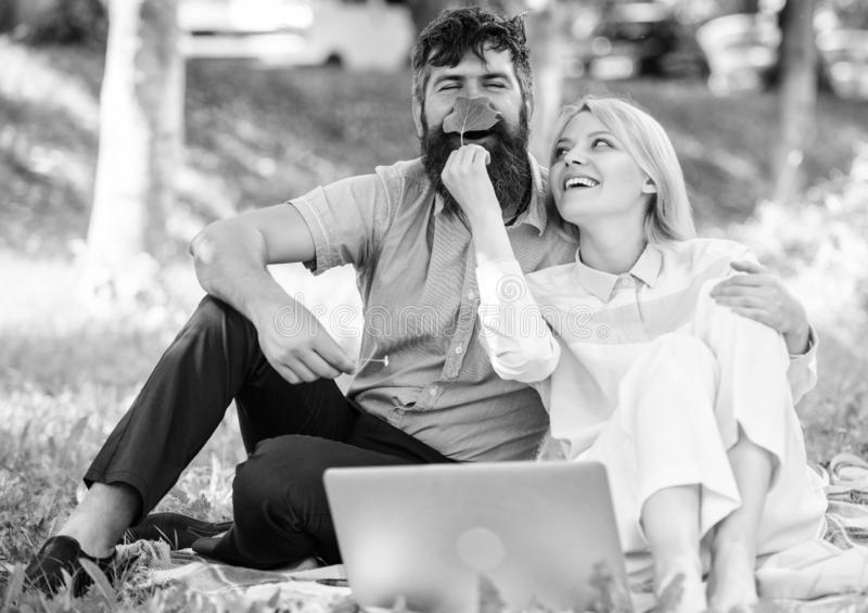 Couple in love or family work freelance. Modern online business. How to balance freelance and family life. Family spend royalty free stock image