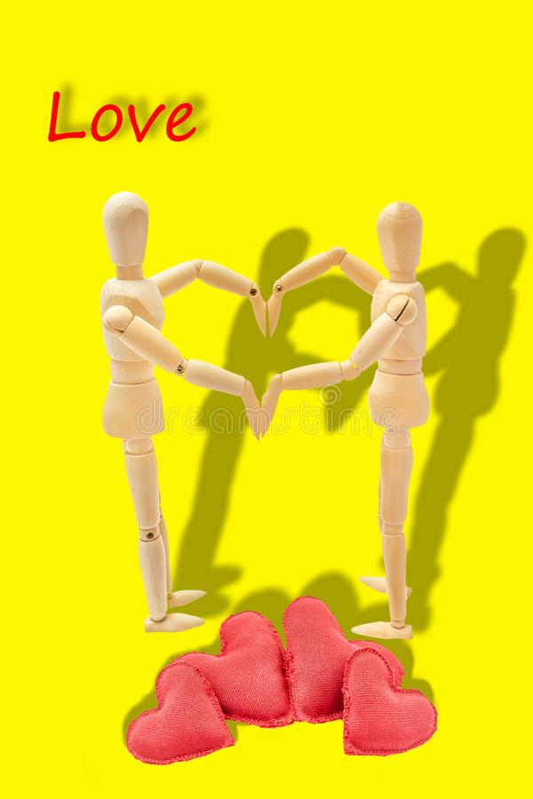 Couple in love forming a heart. With her arms royalty free stock photos
