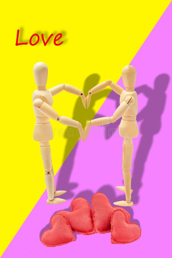 Couple in love forming a heart. With her arms stock photography