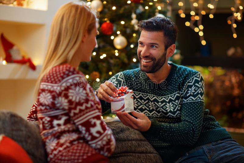 Couple in love giving gift Christmas to each other. Cheerful couple in love giving gift Christmas to each other royalty free stock photos