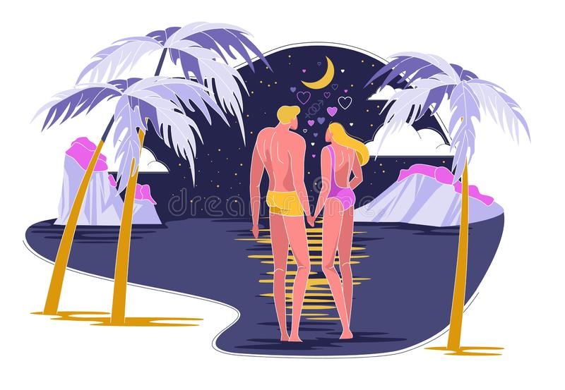 Couple in Love Going to Swim in Ocean at Night. Cartoon Flat Vector Illustration. Romantic Dating in Evening under Stars and Moonlight. Honeymoon at Hotel on stock illustration