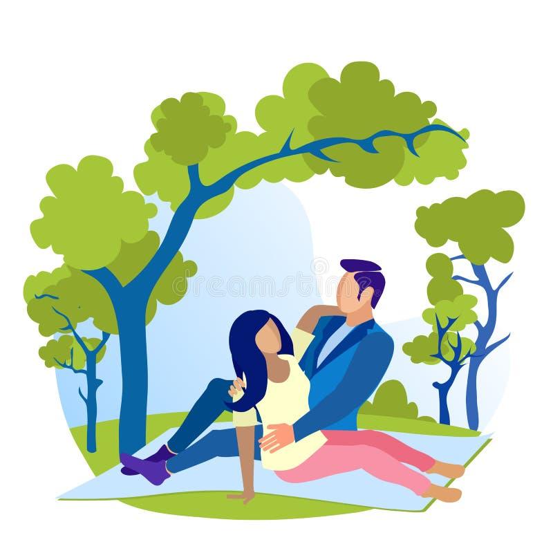Couple in Love Have Rest on Nature Flat Cartoon vektor abbildung