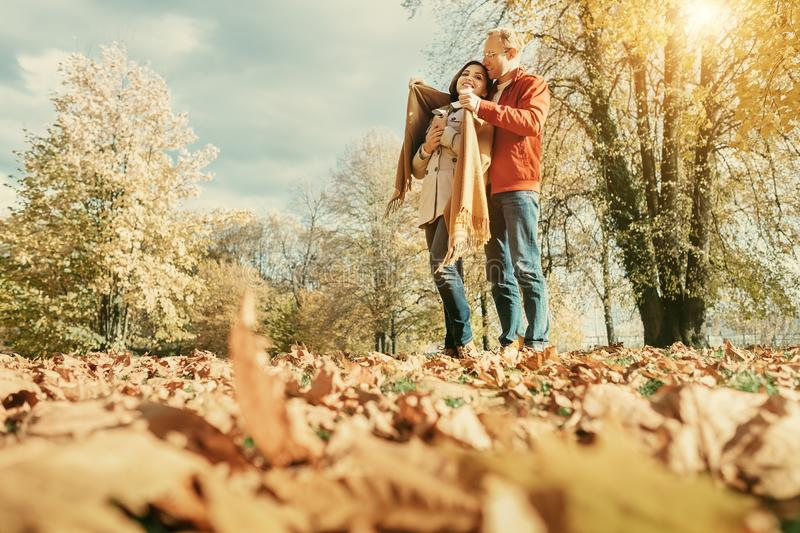 Couple in love have a romantic time in autumn park stock photos