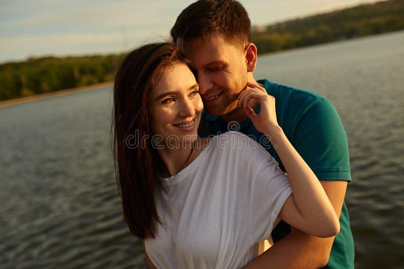 Couple in love having fun outdoors stock photos