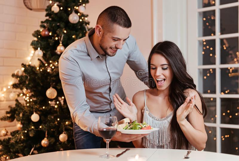 Couple in love, having a romantic dinner royalty free stock photo