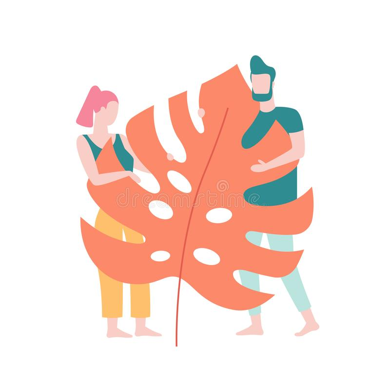 Couple in love hiding behind the big tropical leaf isolated on white background, vector illustration in flat design. People having reunion with Nature concept vector illustration