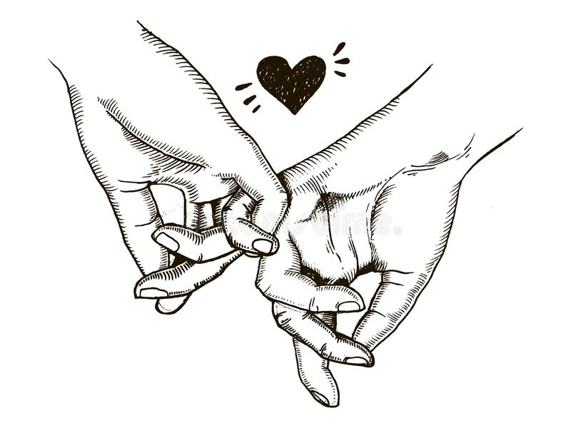 Couple in love hold hands engraving vector. Illustration. Scratch board style imitation. Hand drawn image vector illustration