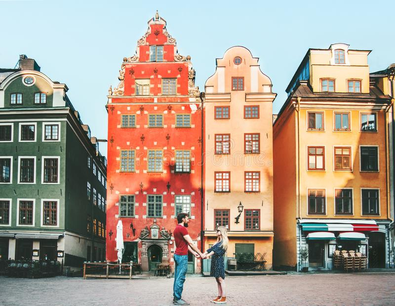 Couple in love holding hands together in Stockholm royalty free stock photo