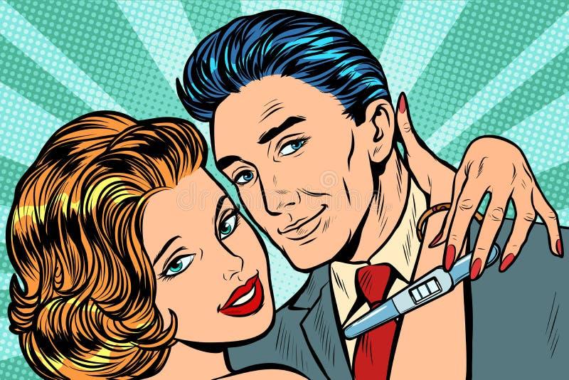 Couple in love hug pregnancy test royalty free illustration