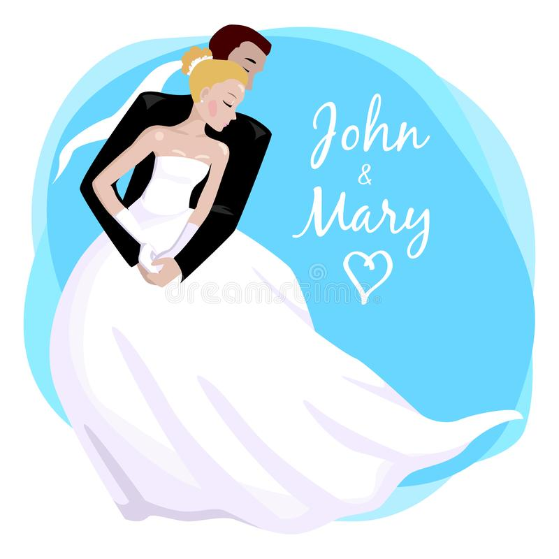 Wedding couple hugging and dancing. Vector illustration. Couple in love hugging on the wedding. Romance marriage dancing. Bride and groom. Design for wedding day vector illustration