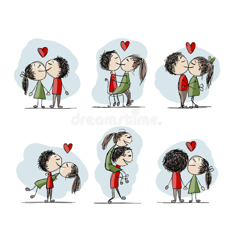 Couple in love kissing, valentine sketch for your vector illustration