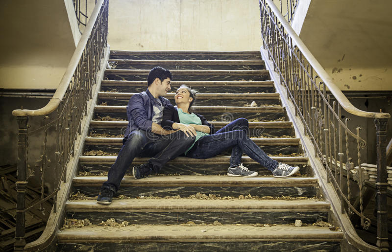 Couple love ladder stock images