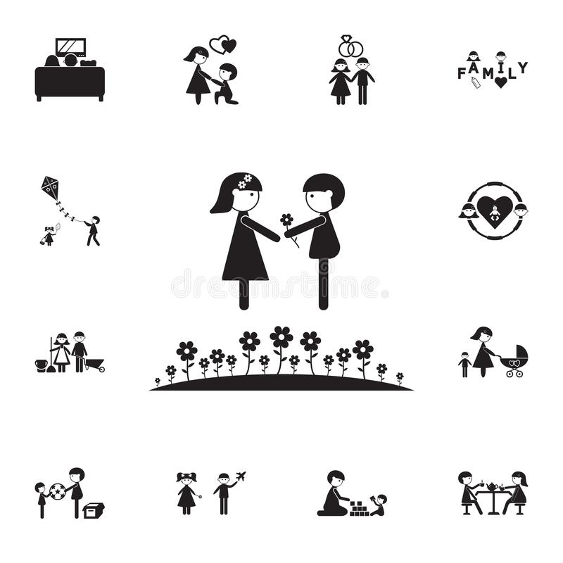 couple in love on a lawn icon. Detailed set of Family icons. Premium quality graphic design sign. One of the collection icons for royalty free illustration
