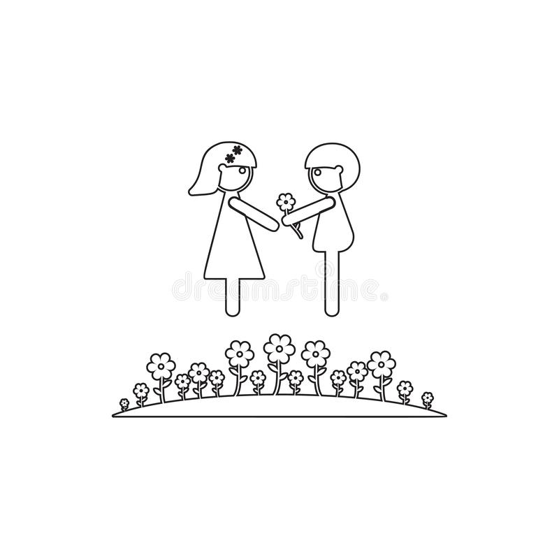 Couple in love on a lawn icon. Element of cyber security for mobile concept and web apps icon. Thin line icon for website design. And development, app royalty free illustration