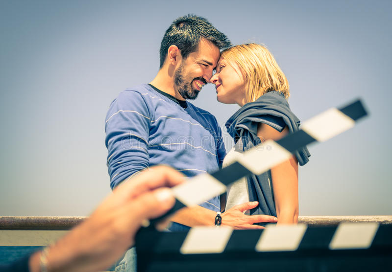 Couple in Love like in a Movie stock photos
