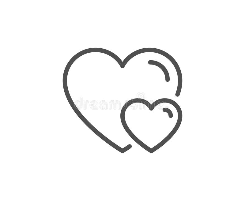 Couple Love line icon. Two Hearts sign. royalty free illustration