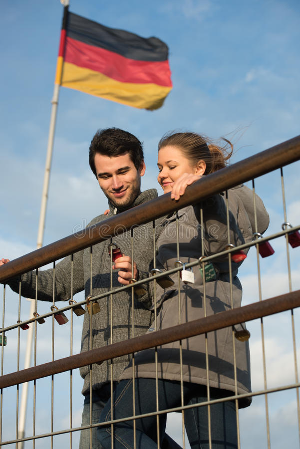 Couple and love locks stock photography