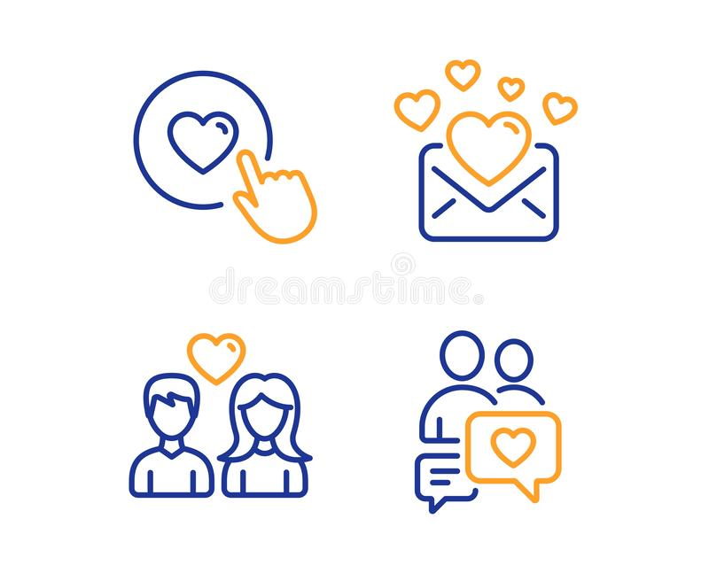 Couple love, Love mail and Like button icons set. Dating chat sign. Valentines letter. Love set. Vector stock illustration