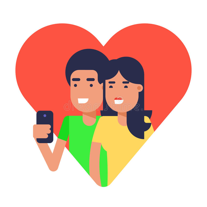 Couple in love making selfie. Illustration. Boy and girl making selfie for sharing with friends in a social network concept. Good idea for modern lifestyle vector illustration