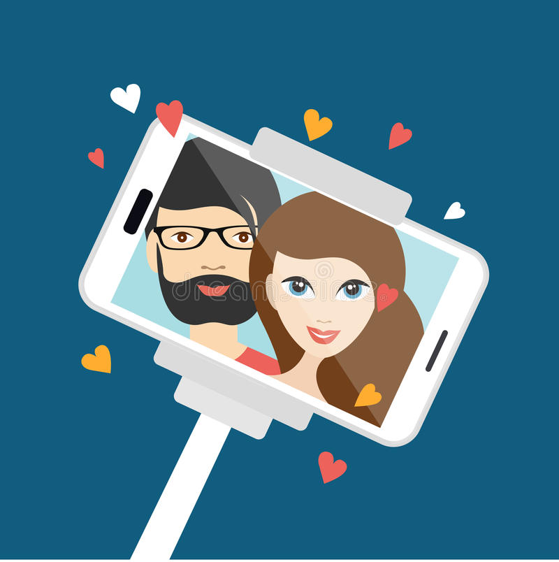 Couple in love making selfie photo. Vector cartoon illustration stock illustration