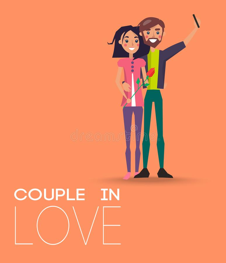 Couple in Love Making Selfie on Smartphone, Pair. Of boy and girl lovers, woman holding flower gift in hand vector , Valentines Day concept royalty free illustration