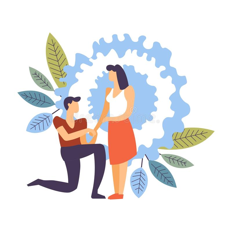 Couple in love, man and woman dating male making proposition. Vector boyfriend standing on knee and taking hand of girlfriend asking to marry marriage and stock illustration