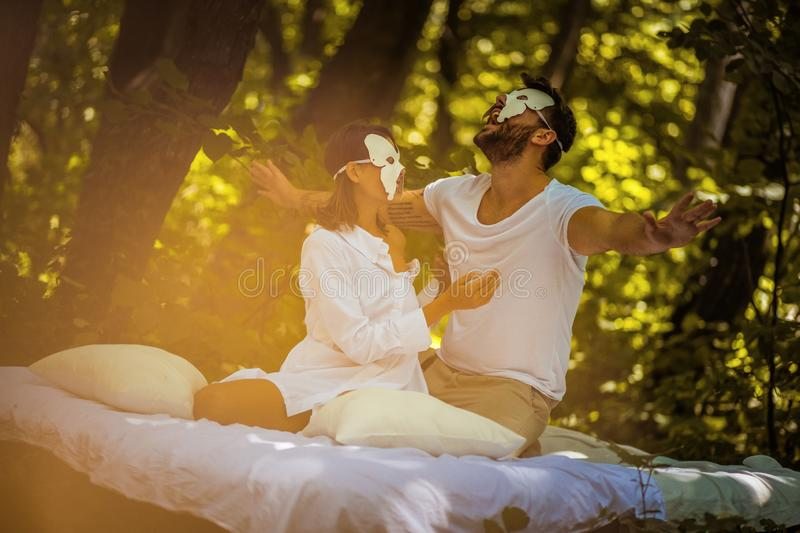 Couple in love at nature. Hidden face concept. stock image