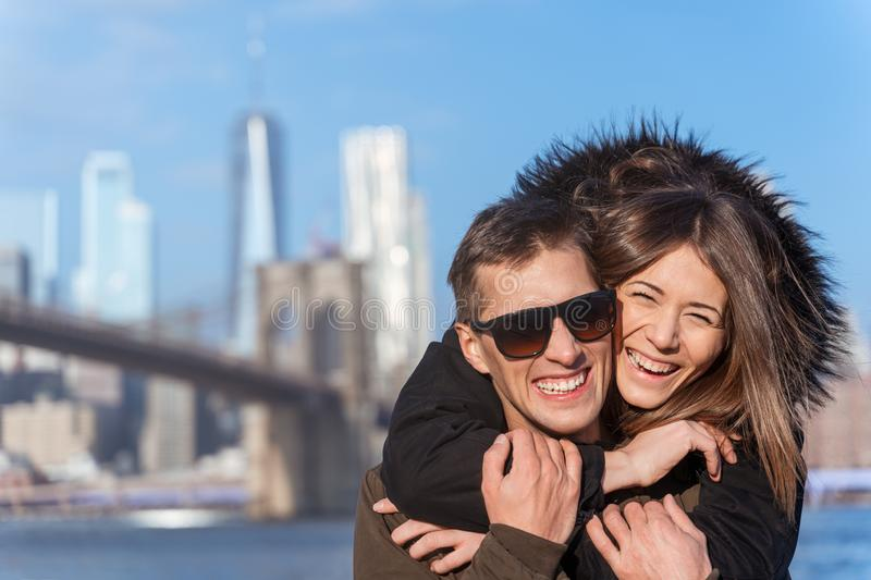 Couple in love near the brooklyn bridge in new york royalty free stock photo