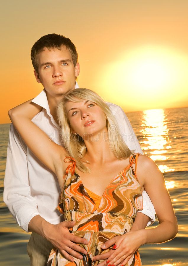 Couple In Love Near The Ocean Stock Photography