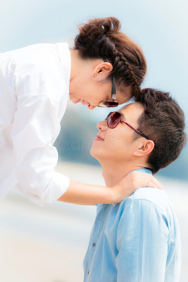 Couple in love outdoor stock image