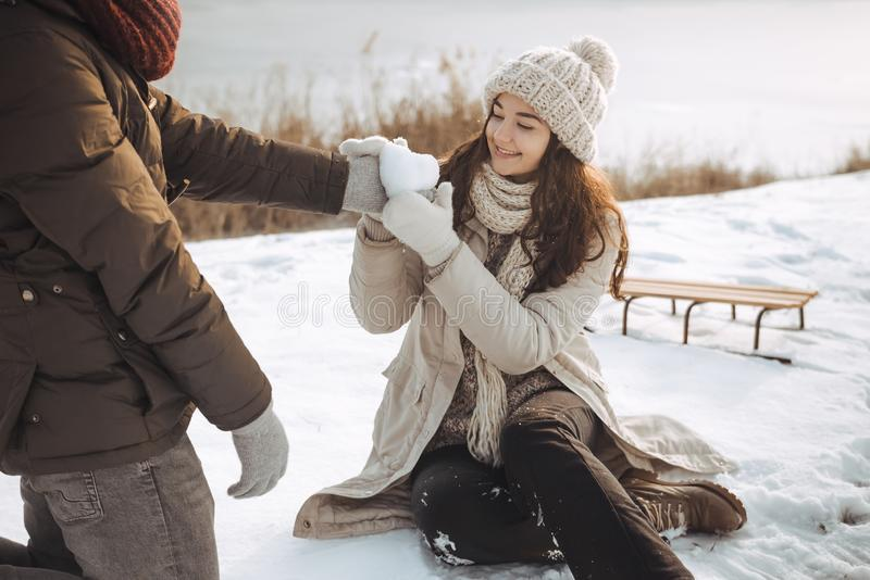 Couple in Love Outdoors on the Winter stock photos