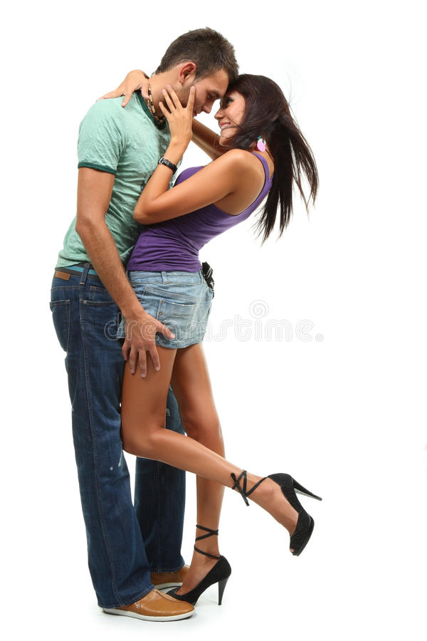 Couple in love over white backgro royalty free stock photo