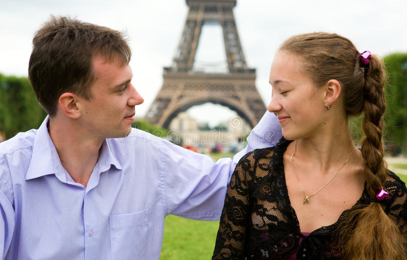 Couple in love in Paris royalty free stock photography