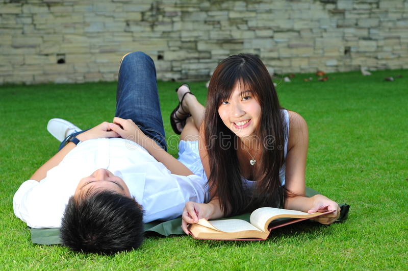 Couple In Love In The park stock photography