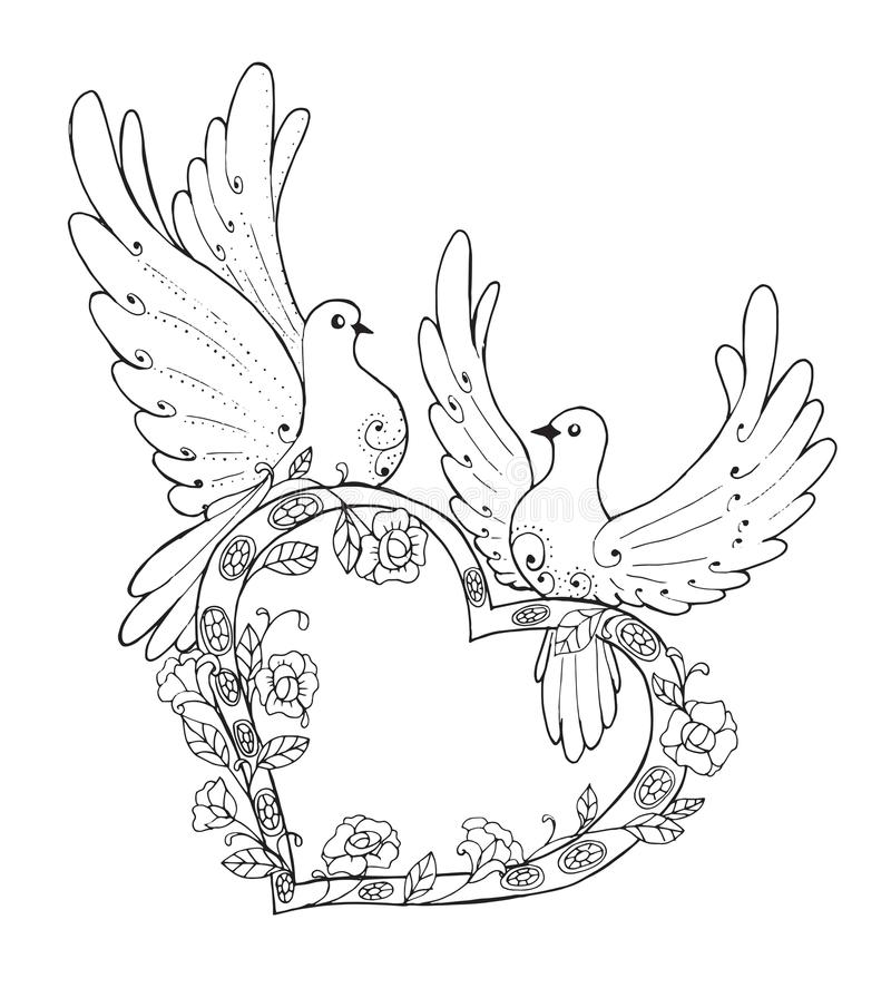 Couple in love pigeons royalty free illustration