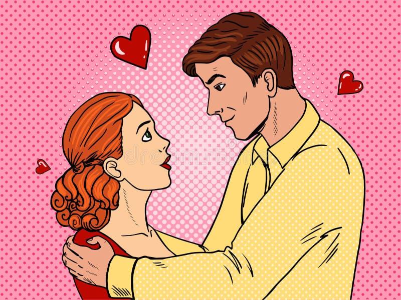 Couple in love pop art style vector illustration royalty free illustration