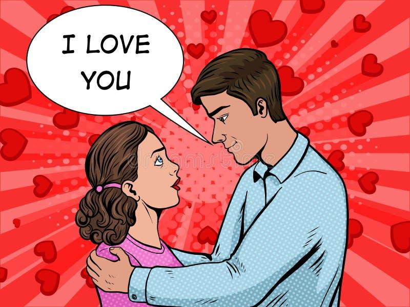 Couple in love pop art style vector illustration stock illustration