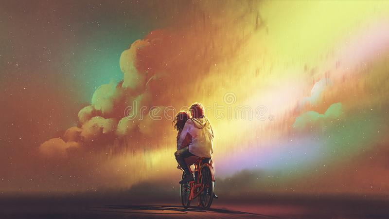 Couple in love riding on bicycle. Against night sky with colorful clouds, digital art style, illustration painting stock illustration