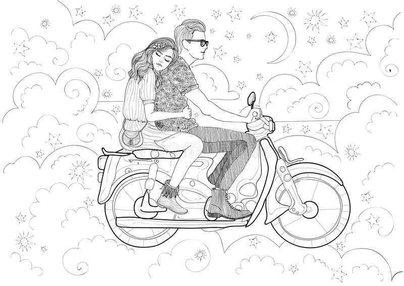 Download Couple In Love Riding A Motorbike Stock Vector - Image: 83721590