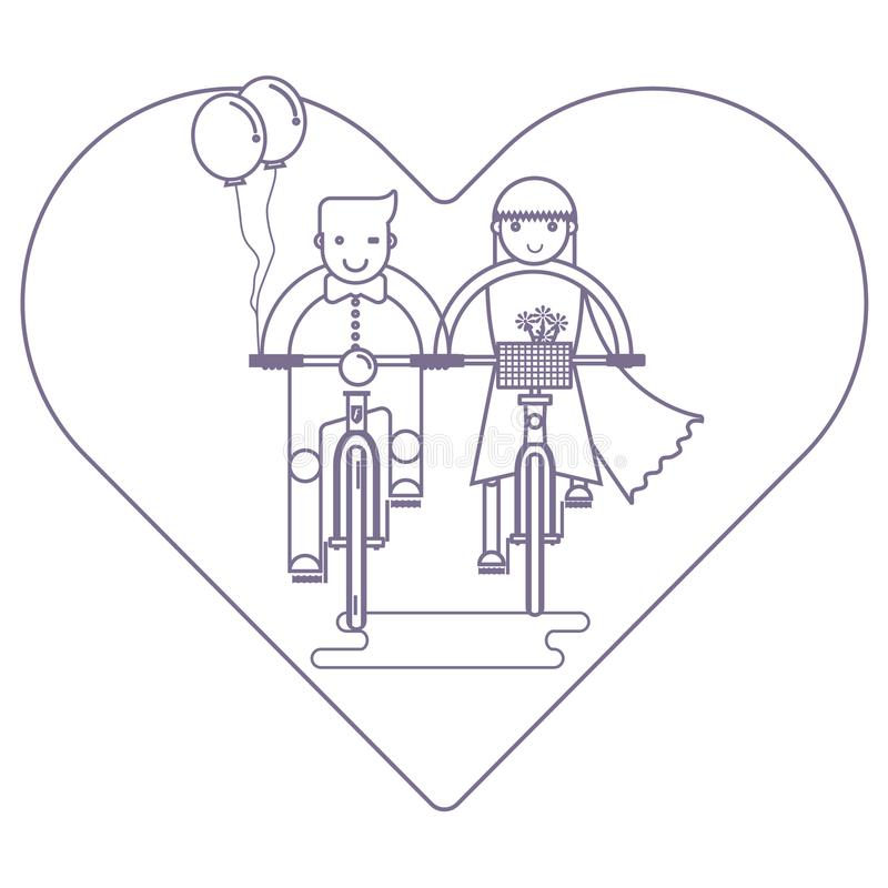 Couple in love riding together on bike, Wedding concept stock photo