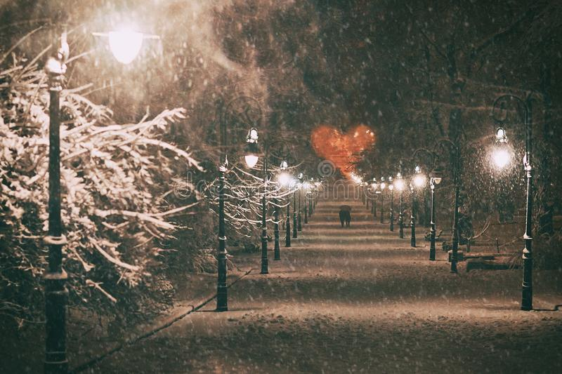 Couple in love on a romantic date walks through the snowy night winter park alley with beautiful lanterns covered with stock photo