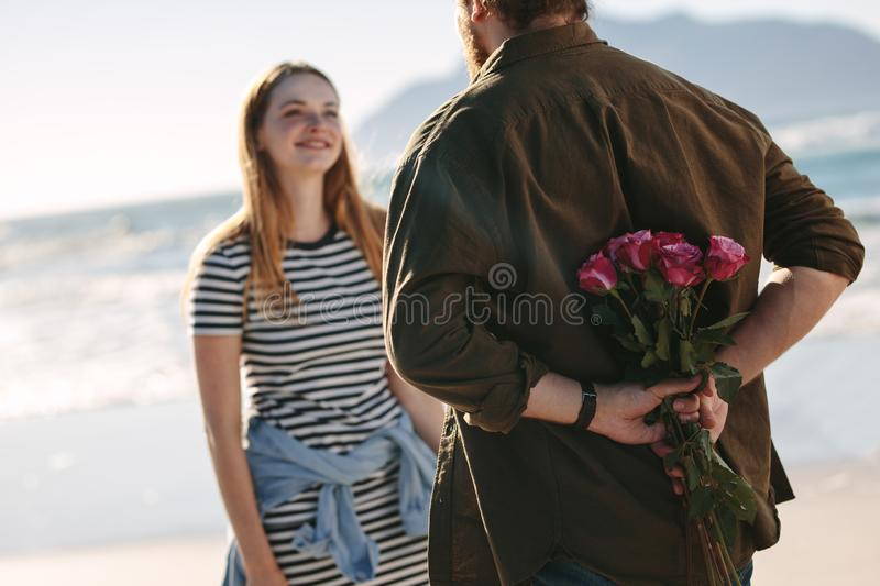 Couple in love on romantic date royalty free stock images